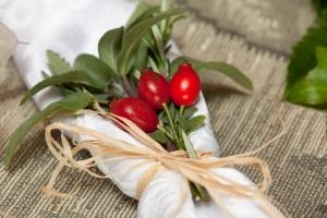 Rosehip herb napkin tie587OR